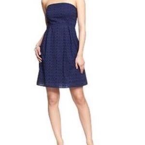 Of navy eyelet strapless dress size 8